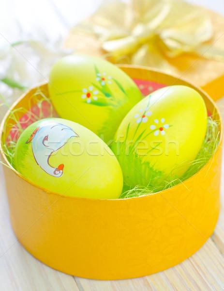 Húsvéti tojások citromsárga doboz húsvét tavasz tojás Stock fotó © tycoon