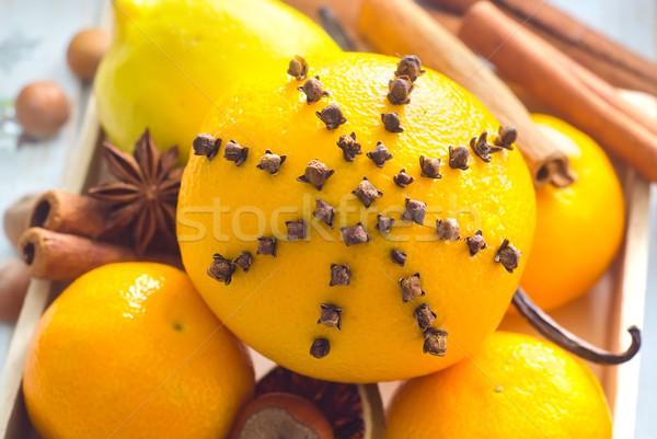 Taze portakal tarçın Noel gıda meyve Stok fotoğraf © tycoon