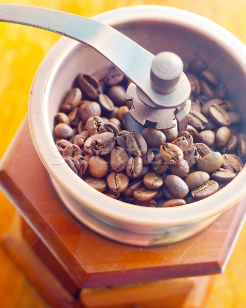 Retro coffee mill on the wooden table Stock photo © tycoon