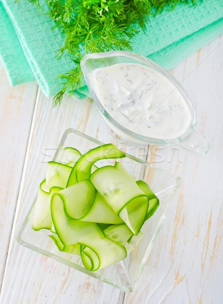 Insalata cetriolo alimentare verde coltello impianto Foto d'archivio © tycoon
