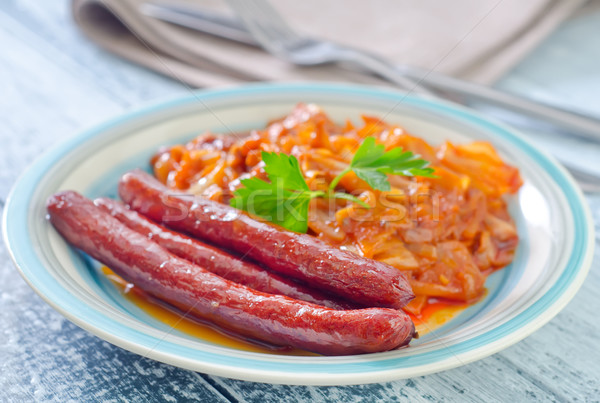 sausages with fried cabbage Stock photo © tycoon