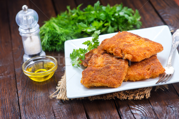 Frit poissons plaque table alimentaire viande Photo stock © tycoon
