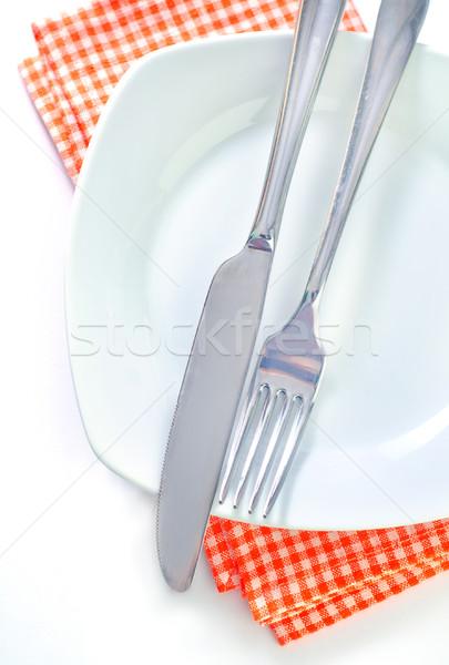 Garfo faca prato serviço café da manhã aço Foto stock © tycoon