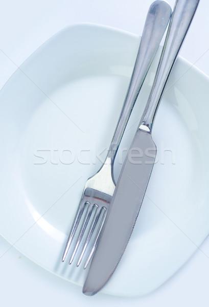 Sprzęt kuchenny metal tabeli obiedzie nóż widelec Zdjęcia stock © tycoon