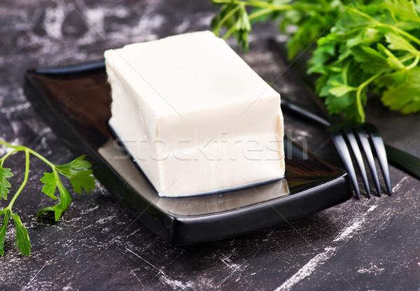 Tofu formaggio tavolo da cucina blu piatto nero Foto d'archivio © tycoon