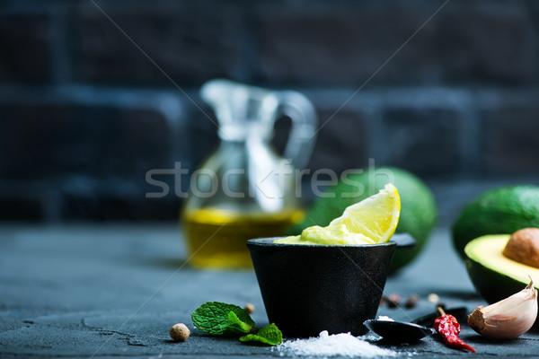 Abacate molho tigela tabela vidro verde Foto stock © tycoon
