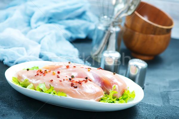 Tavuk fileto plaka tablo meme Stok fotoğraf © tycoon