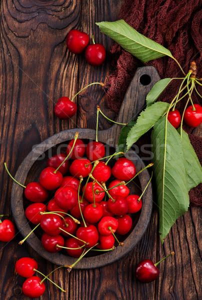 Zdjęcia stock: świeże · wiśniowe · czerwony · puchar · tabeli · żywności