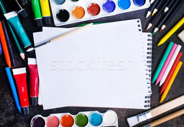 Okul malzemeleri tablo stok fotoğraf okul arka plan Stok fotoğraf © tycoon