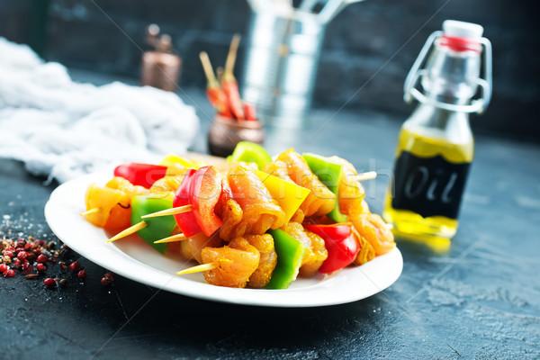 Nyers hús kebab fűszer étel zöldségek Stock fotó © tycoon