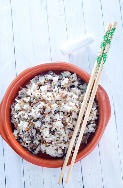 Főtt rizs étterem vacsora tányér ázsiai Stock fotó © tycoon