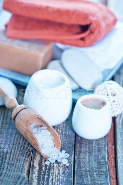 石鹸 ボディ ローション 木製 背景 スペース ストックフォト © tycoon
