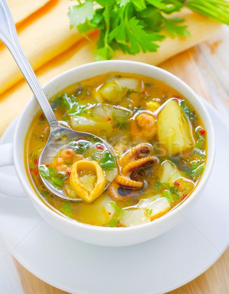 Frischen Suppe Fisch Abendessen rot Gabel Stock foto © tycoon