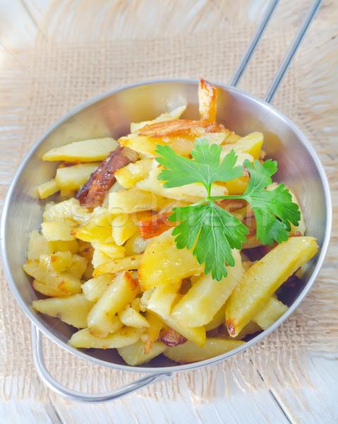 ストックフォト: フライド · ジャガイモ · レストラン · 脂肪 · ホット · ランチ