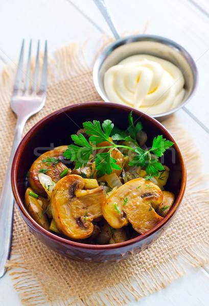 Funghi cena nero grasso bianco Foto d'archivio © tycoon