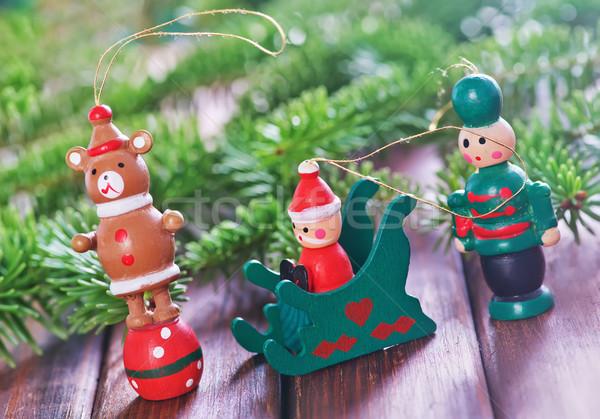 Natal decoração mesa de madeira madeira projeto fundo Foto stock © tycoon