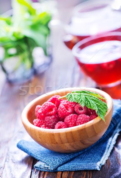 Ahududu çayı taze karpuzu tablo ahşap içmek Stok fotoğraf © tycoon