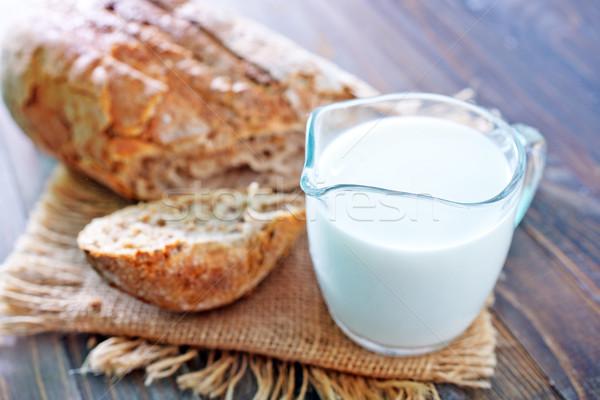 Pão leite comida vidro grupo café da manhã Foto stock © tycoon