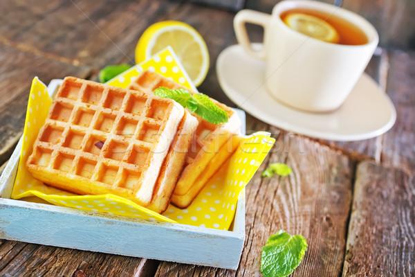 tea with lemon and waffle Stock photo © tycoon
