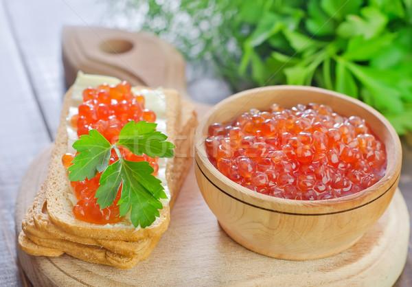 Havyar ekmek peynir kırmızı kahvaltı yeme Stok fotoğraf © tycoon