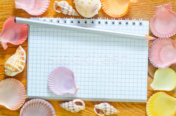 Foto stock: Nota · lápiz · conchas · negocios · textura · peces