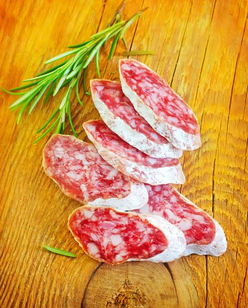 Szalámi piros hús tábla gyógynövények friss Stock fotó © tycoon