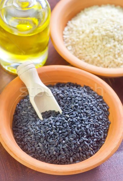 Szezám konyha tányér fekete növény főzés Stock fotó © tycoon