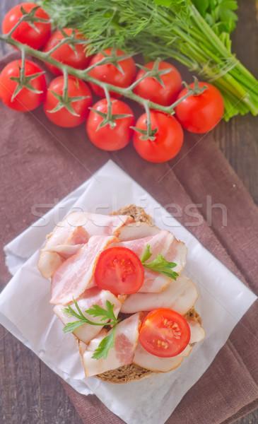 Stok fotoğraf: Sandviç · gıda · arka · plan · kahvaltı · yağ · domates