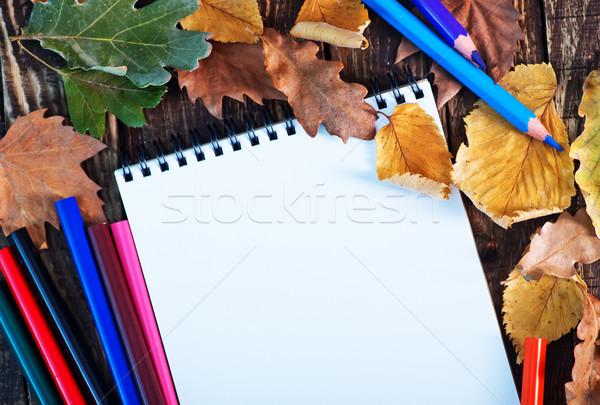ősz őszi levelek asztal fa iskola szépség Stock fotó © tycoon