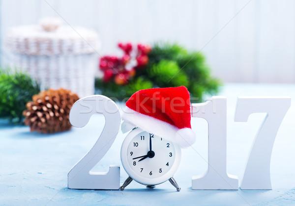 Natale decorazione tavola felice clock sfondo Foto d'archivio © tycoon