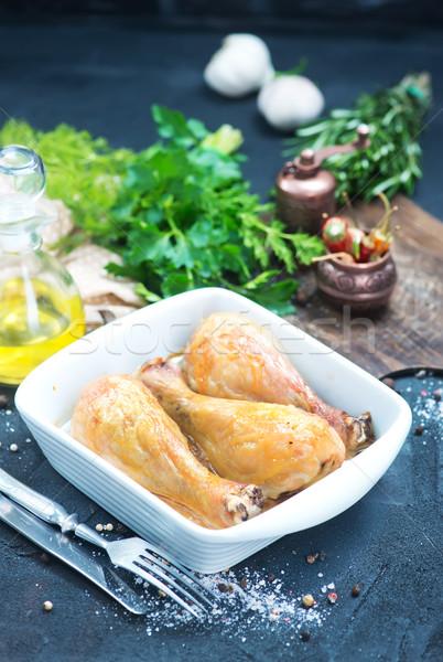 Frango assado pernas tigela tabela comida beber Foto stock © tycoon