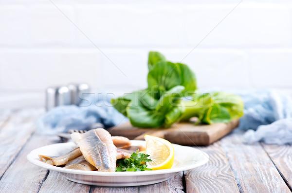 Balık fileto limon plaka gıda Stok fotoğraf © tycoon
