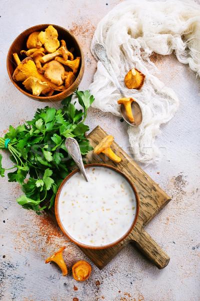 Foto d'archivio: Funghi · zuppa · ciotola · tavola · alimentare · verde