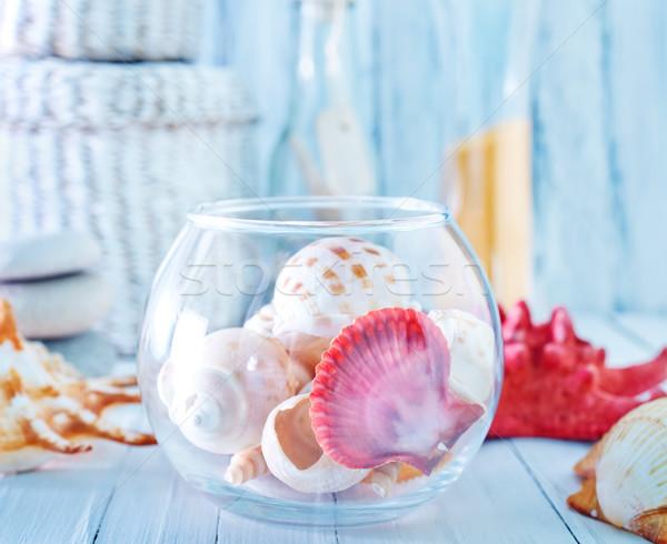 Foto stock: Verão · mar · conchas · vidro · tigela · tabela