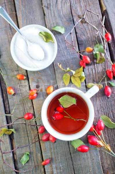 Taza de té mesa perro aumentó naturaleza estudiante Foto stock © tycoon