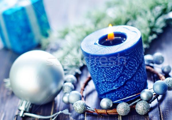 Stok fotoğraf: Noel · mum · ağaç · ışık · kar · arka · plan