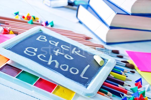 Schoolbenodigdheden papier boek school onderwijs wetenschap Stockfoto © tycoon