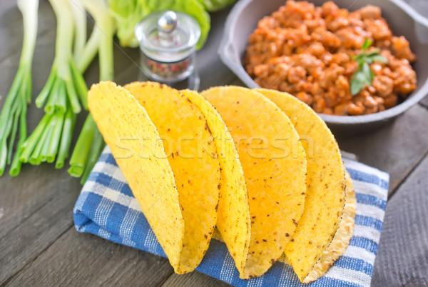 Ingrediënten taco hout groene tarwe vlees Stockfoto © tycoon