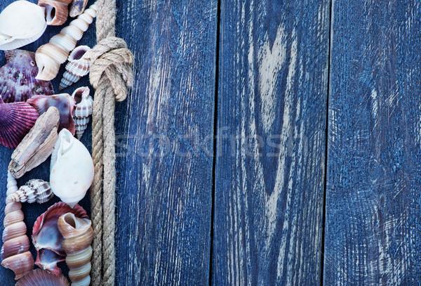 Deniz kabukları pusula tablo plaj ahşap Stok fotoğraf © tycoon