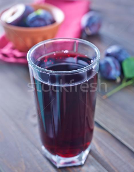 Szilva dzsúz étel gyümölcs üveg piros Stock fotó © tycoon