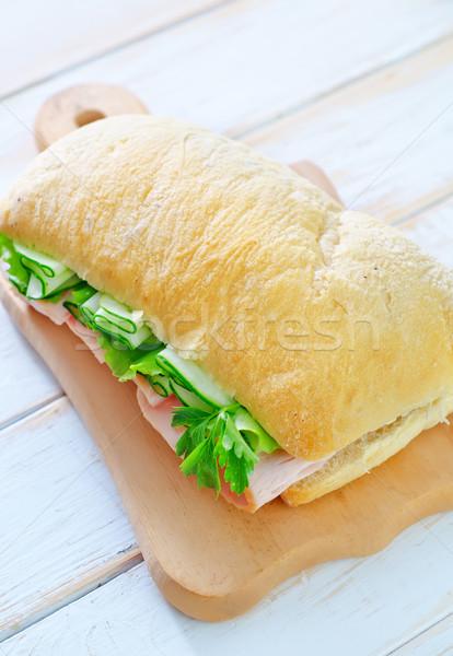 Sandwich Schinken Gurken Blatt Obst grünen Stock foto © tycoon
