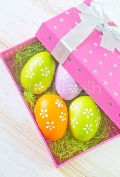 Húsvéti tojások húsvét tavasz tojás háttér doboz Stock fotó © tycoon