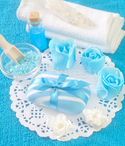 Zeezout olie zee bloemen gezondheid Blauw Stockfoto © tycoon