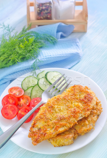 Frango assado legumes fundo restaurante carne garfo Foto stock © tycoon