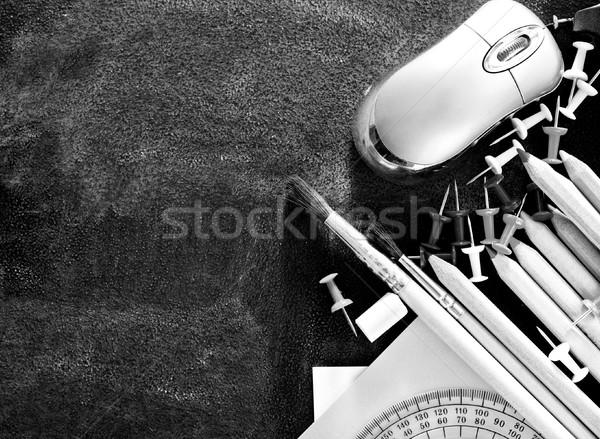 Fournitures scolaires livres école stylo crayon Retour Photo stock © tycoon