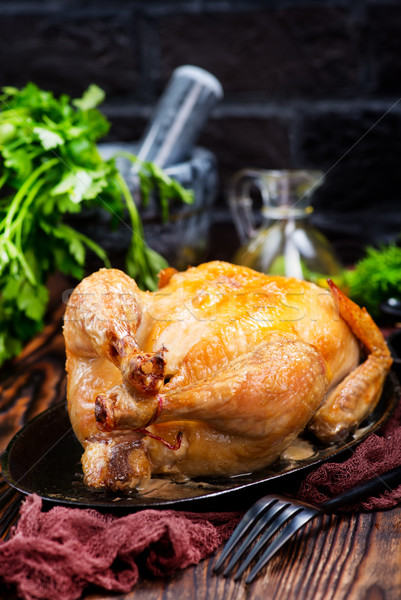 Tavuk kızartma baharat tablo gıda tavuk akşam yemeği Stok fotoğraf © tycoon