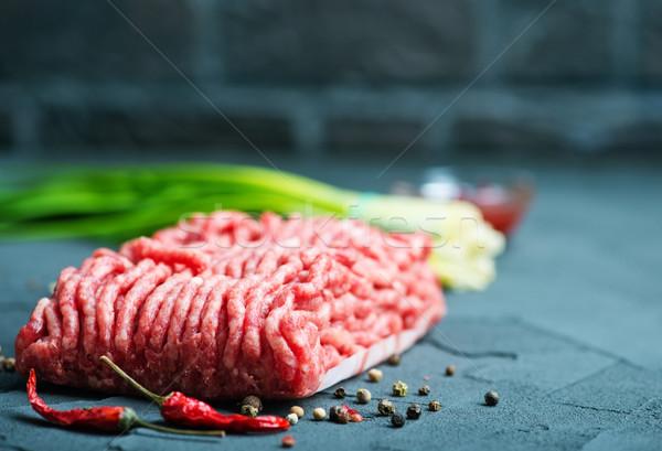 Ruw vlees plaat tabel achtergrond koken Stockfoto © tycoon
