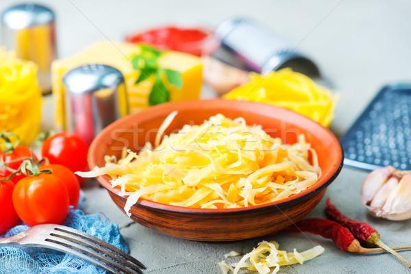 Formaggio grattugiato Spice tavola legno pasta forcella Foto d'archivio © tycoon