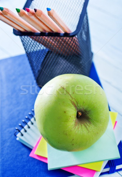 Fournitures scolaires bois fruits crayon cadre espace Photo stock © tycoon