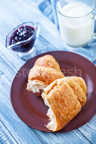 Ontbijt hout drinken mes sap dessert Stockfoto © tycoon